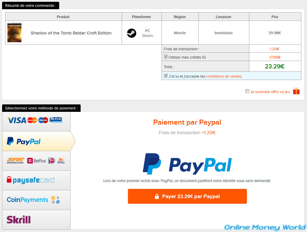 Instant Gaming Paypal