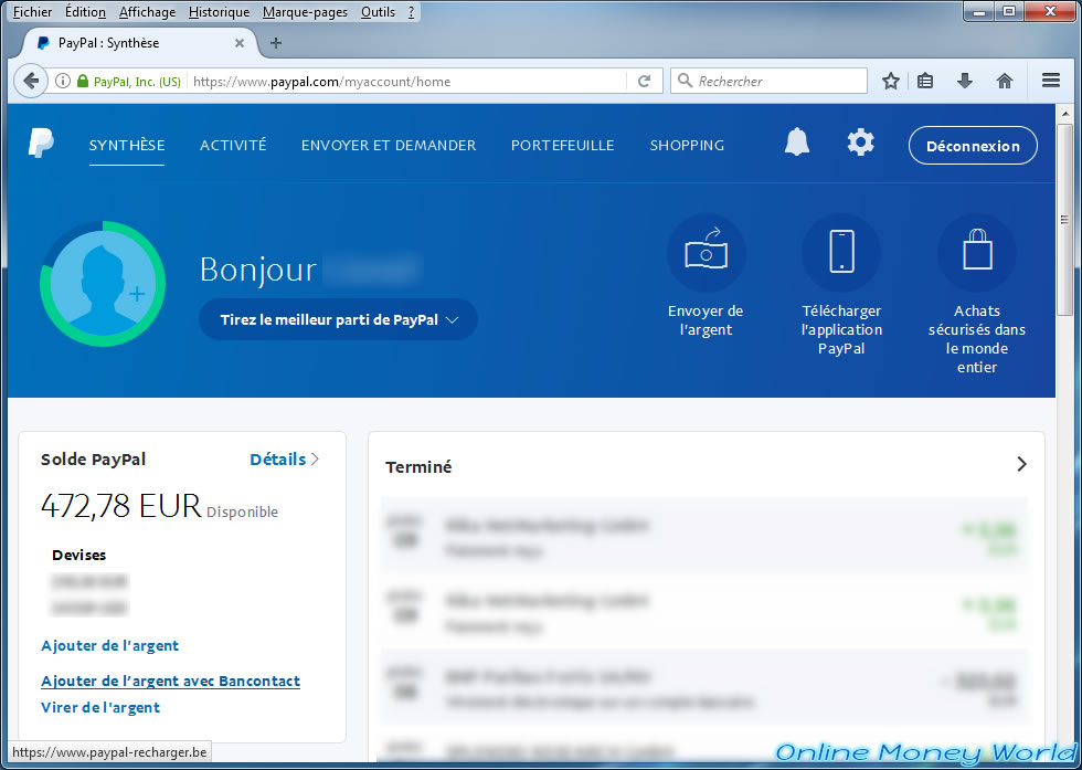 Recharge your PayPal account instantly with Bancontact - Online