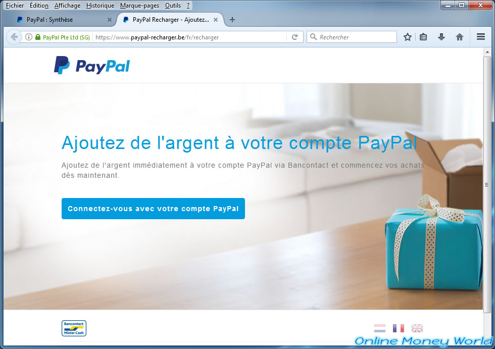 Recharge your PayPal account instantly with Bancontact