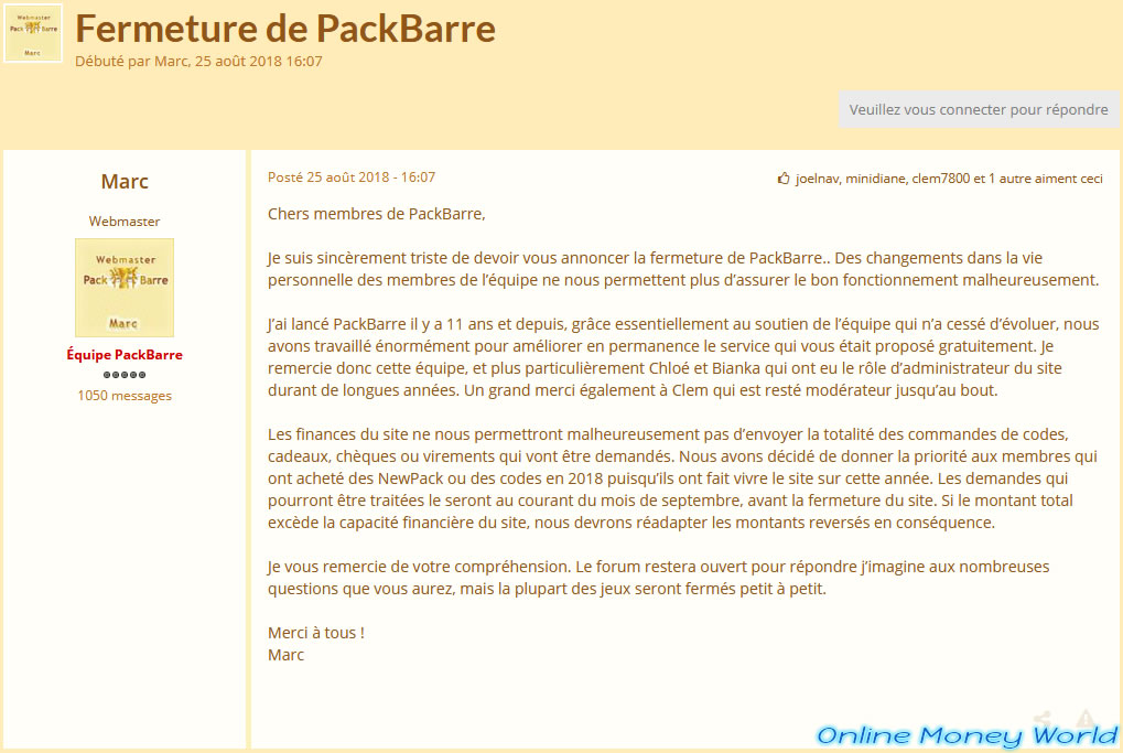 packbarre prizee